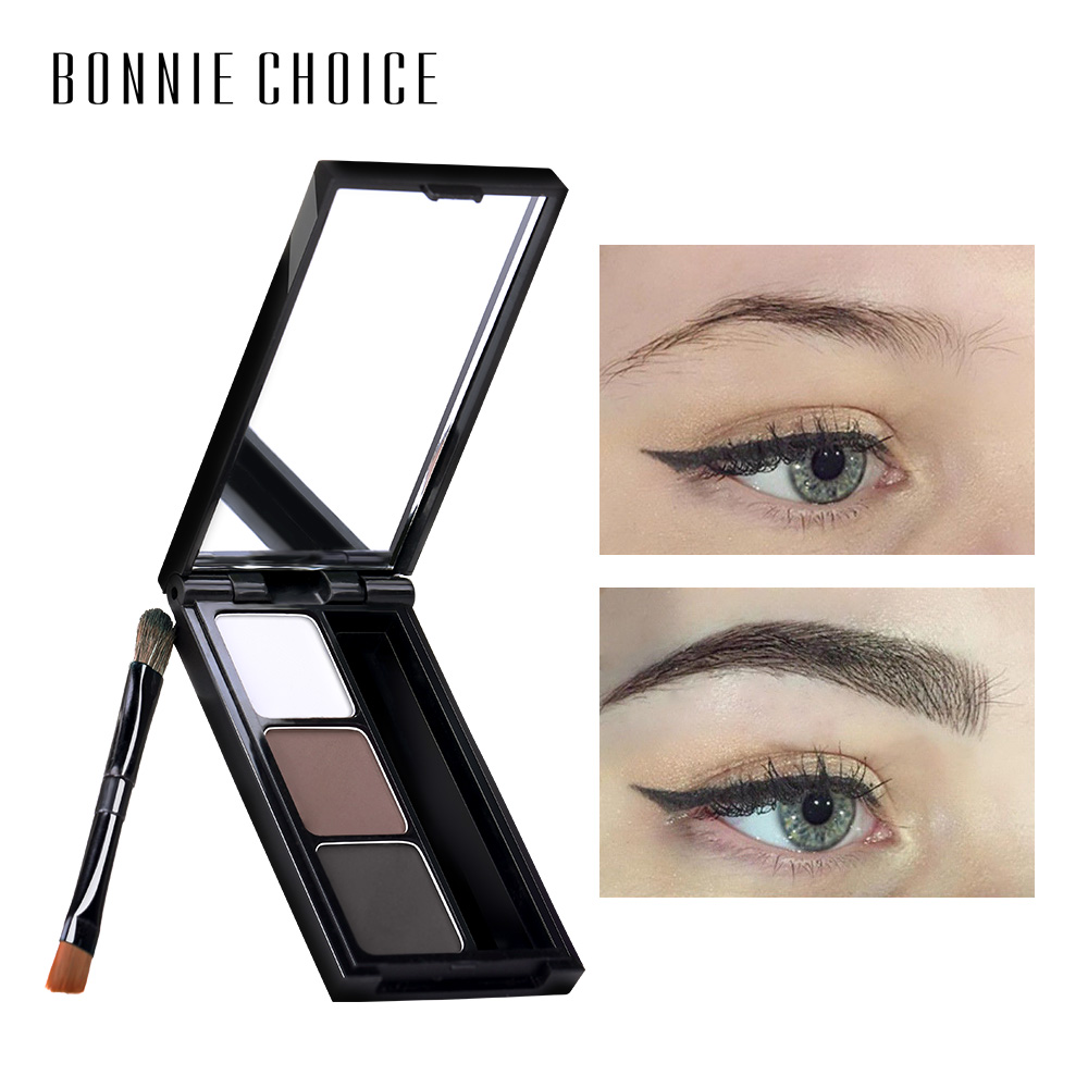 BONNIE CHOICE 2 Color Eyebrow Enhancer Pro Makeup Eyebrows powder Long-lasting Waterproof With Brush Mirror Cosmetic Kits 2