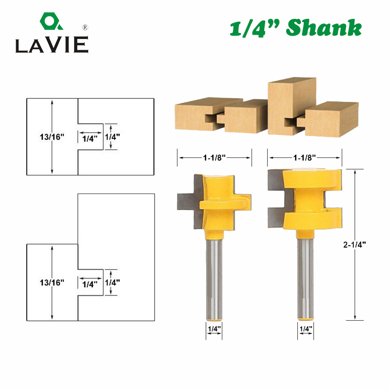 LA VIE 2pcs 1/4 Shank Carving Knife Square Tooth T-Slot Tenon Milling Cutter Router Bits for Wood Tool Woodworking MC01004 цена