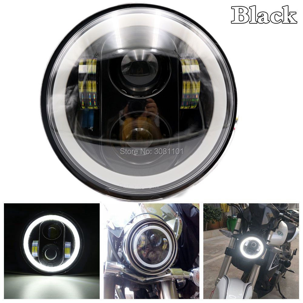 Black 5.75inch Projector Daymaker LED Headlight with White DRL for Harley Street rod 750 Indian Scout Fourty Eight Iron 883