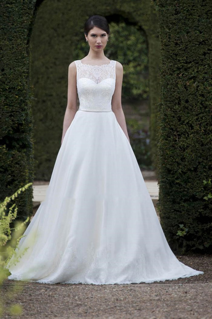 2015 Designer Sheer Square Collar Elegant Princess Lace Wedding ...