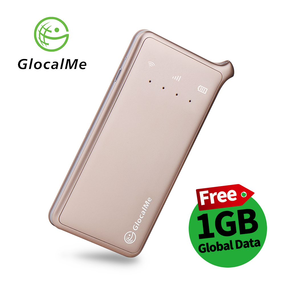 GlocalMe U2 4G Mobile Hotspot Global WiFi With 1GB Global Data Free Roaming Over 100 Countries - Gold