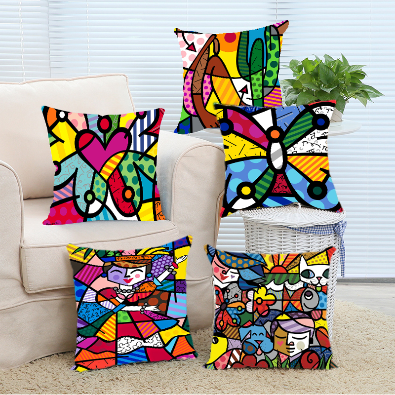 Eason Studio New Arrival Custom Fashion Colorful Butterfly Romero Britto Pillowcase DIY Pillowslip Home Bedding Set Pillow Case Cover