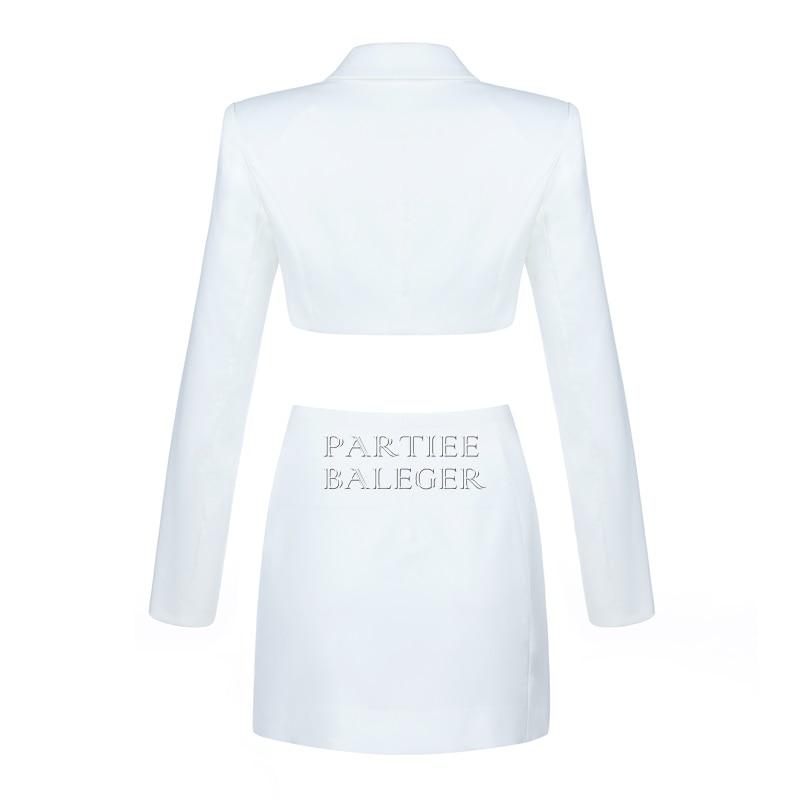2019 Élégant Cou Costume Bouton Celebrity Pièces Profonde Conception Deux Party Blanc V Sexy Nouvelle Tops Arrivée Jupe Manches Club Longues rq8rE