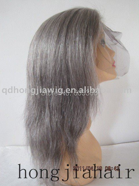 wholesale gray hair full lace wig indian remy hair 12 inch free shipping medium cap size