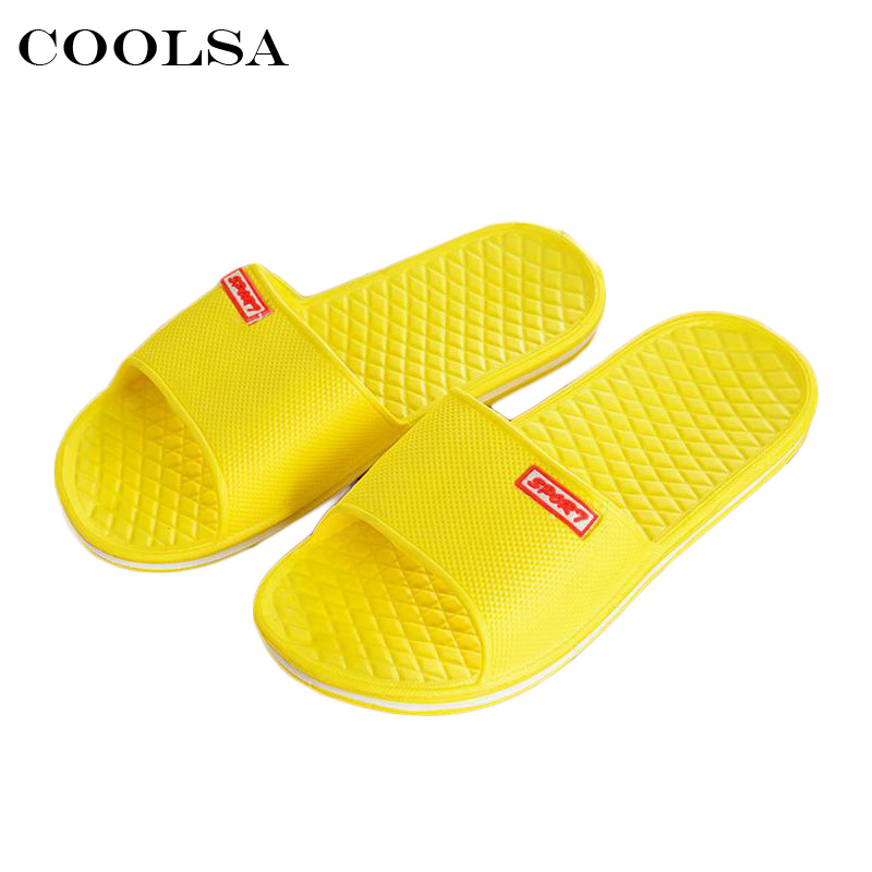 Coolsa Hot Summer New Women Beach Sandals Couple Bathroom Slippers Flat Non-Slip Home Indoor Flip flops Zapatillas Casual Shoes coolsa women s summer flat non slip linen slippers indoor breathable flip flops women s brand stripe flax slippers women slides