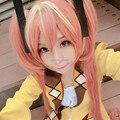 Черный пуля Aihara Enju длинные оранжевый и желтый хвостики прямые волосы косплей