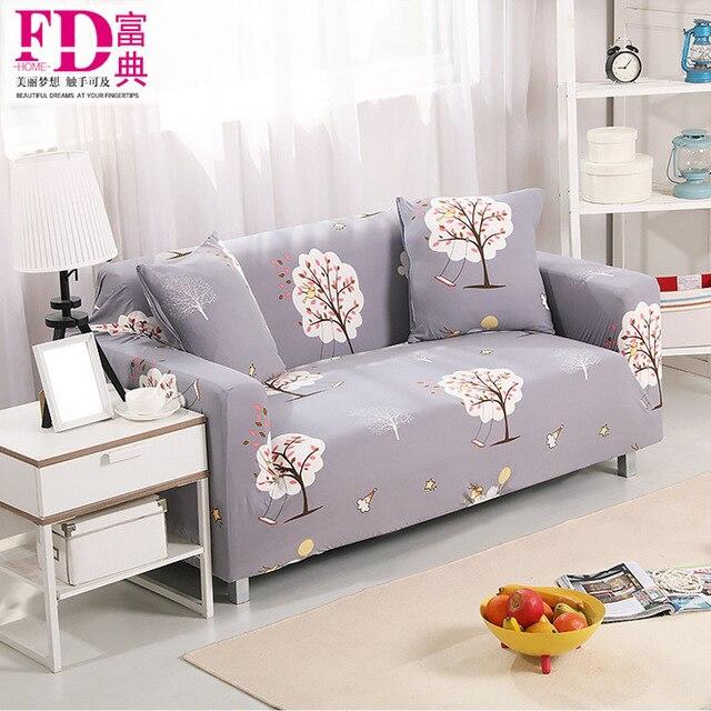 Flower Painted Elastic Sofa Cover Slipcover Corner Sofa Cover Set