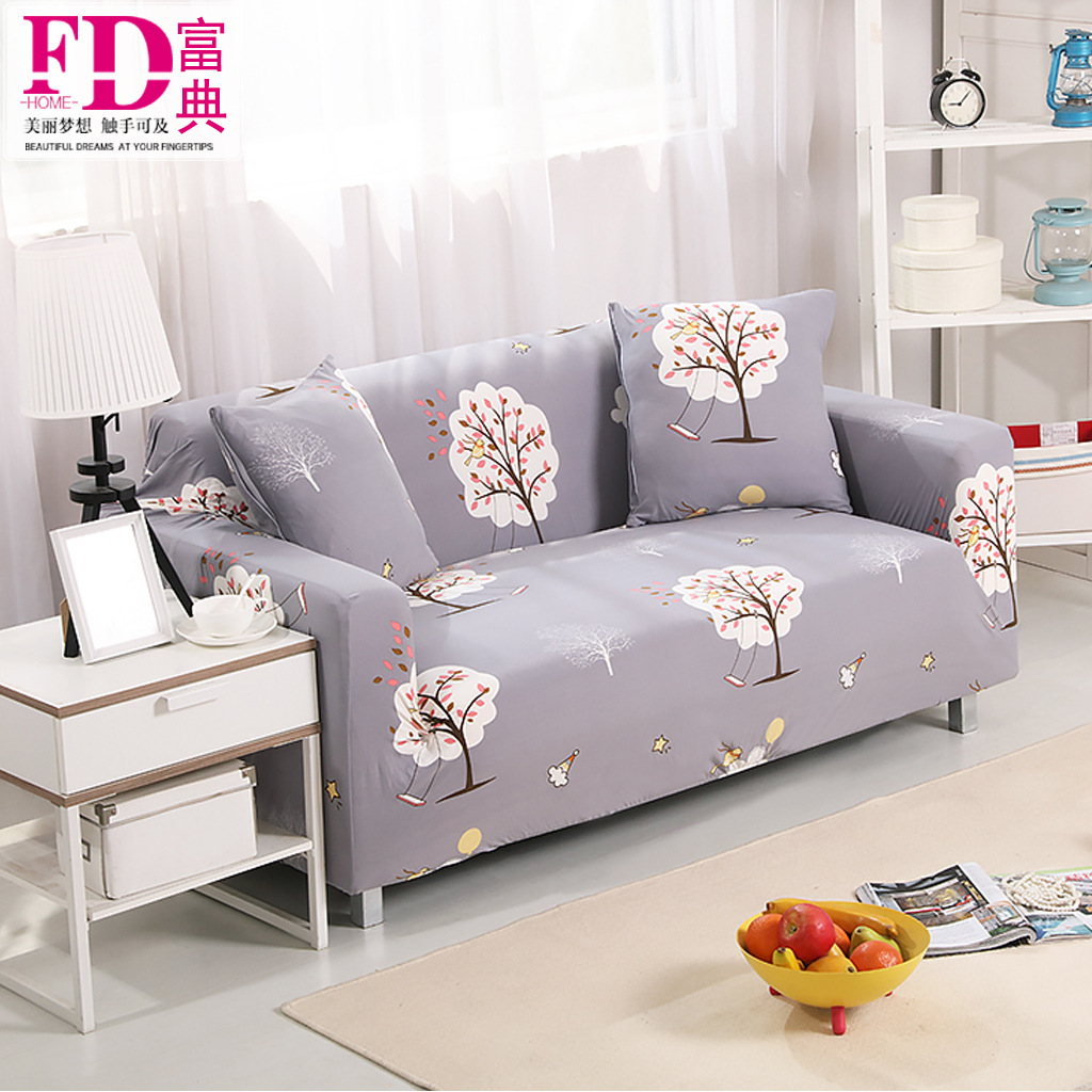 Flower Painted Elastic Sofa Cover Slipcover Corner Sofa Cover Set couch All inclusive 1/2/3/4 Seats Single/Two/Three/Four seater