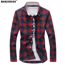 Shirt Men 2016 New Arrival Casual Plaid Shirts Turn-Down Collar Slim Fashion Camisa Masculina M-5XL TC529