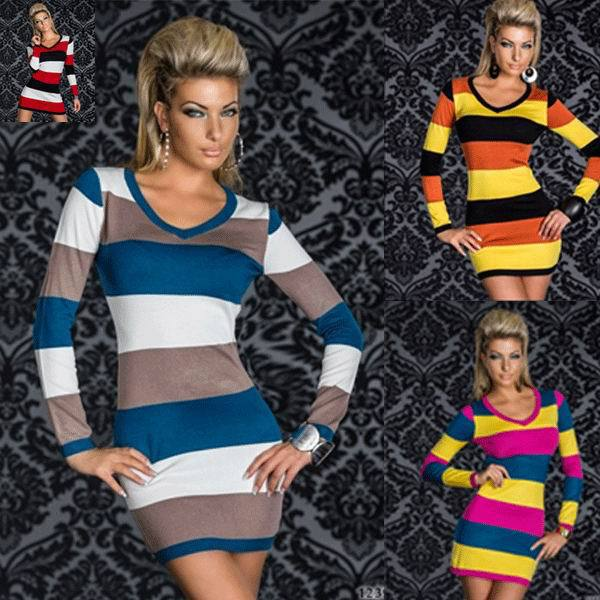 Free shipping for 4 Colors Hot Sale 3S2058 EAST KNITTING <font><b>2015</b></font> <font><b>Sexy</b></font> brand tops women fashion long sleeve striped dress image