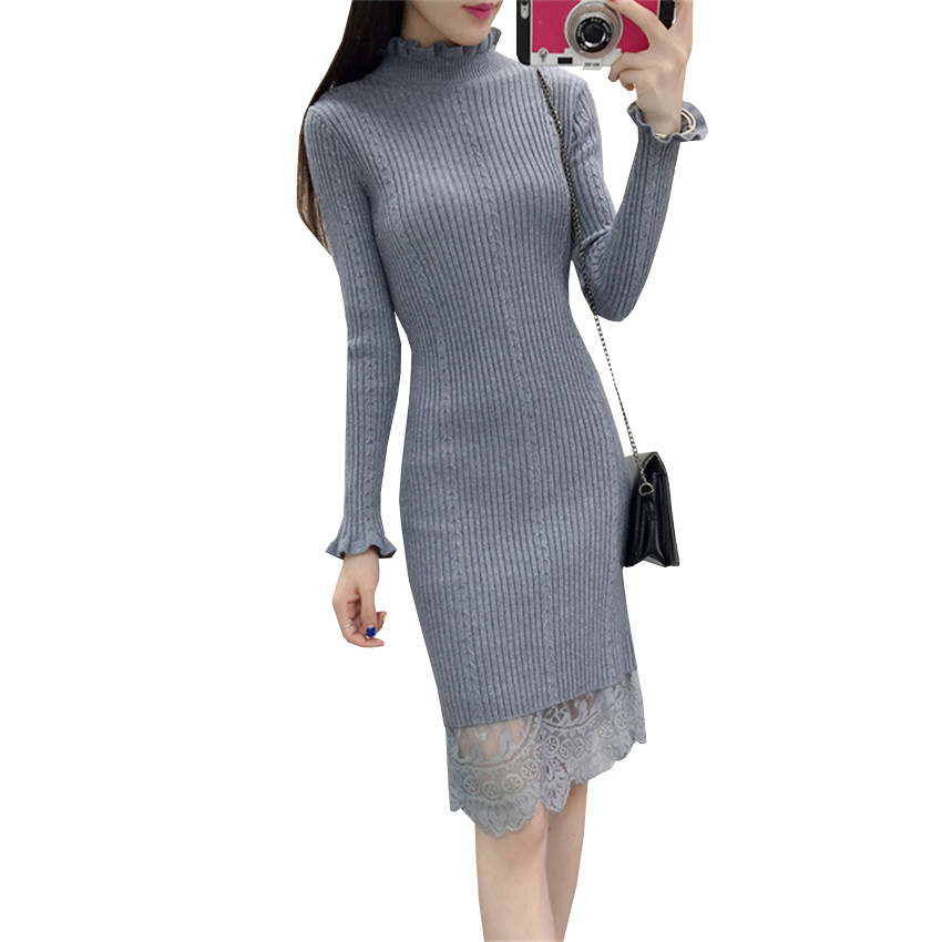 New Women Turtleneck Sweater Dress Autumn Winter Bodyon Lace Patchwork Knitted Dresses Ladies Warm Thick Bottoming Vestidos A684