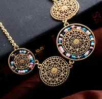 Fashionable ethnic jewelry multicolor necklace rice bead hollow discs Bohemian wind choker statement sweater chain Woman jewelry