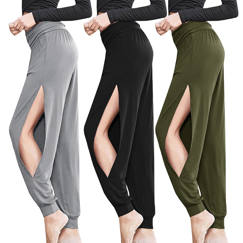 Cheap Sale 2019 New Sexy Harem Yoga Pants Black High Waist Sport Leggings Wide Leg Loose Split Dance Overall Fitness Gym Clothing Run Pants
