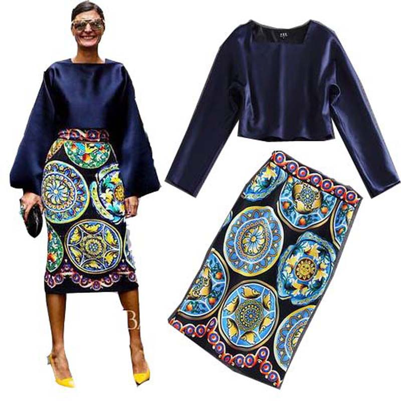 Africa Clothing Vintage Elegant Two Piece Set New Spring Navy Blue Top&Printed Mid-length Skirt Suits Robe Office Lady Plus Size