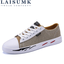 цена на 2019 LAISUMK High Quality Mens Canvas Shoes Casual Lace Up Shoes Men Flats Fashion Breathable Zapatillas Hombre Casual Shoes
