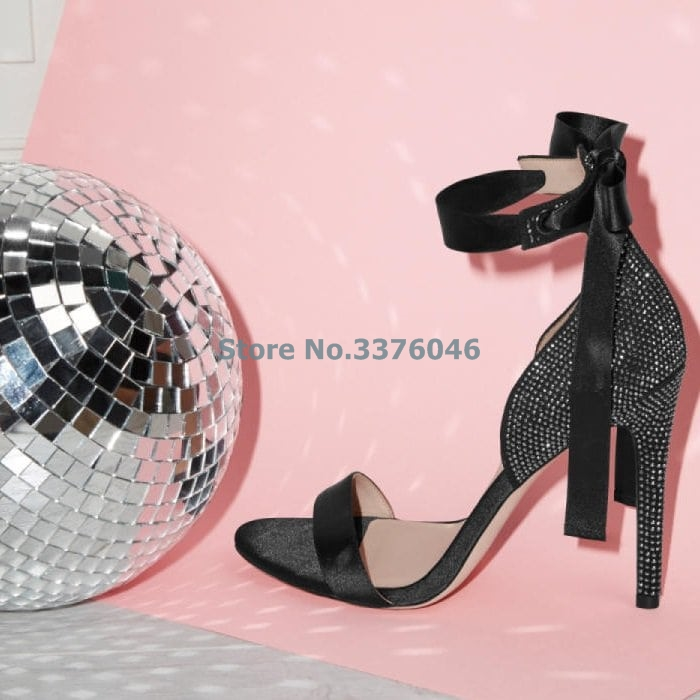 À Ouvert Banquet Ruban Noir Orteil Simples Cristal as Champagne Sandales Sangle Chaussures Hauts Talons Picture Strass Lacent Brillant Mince Picture As XZrPXdxzwq