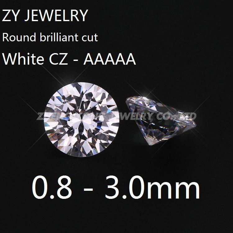 100pcs 0.7~50mm Round White AAAAA loose cz stone cubic zirconia Machine Cut