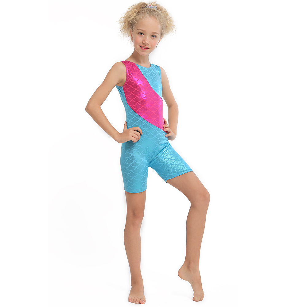 Girl Children Mermaid Metalic Sparkle Gymnastics Ballet Dancewear Leotards 3-10Y