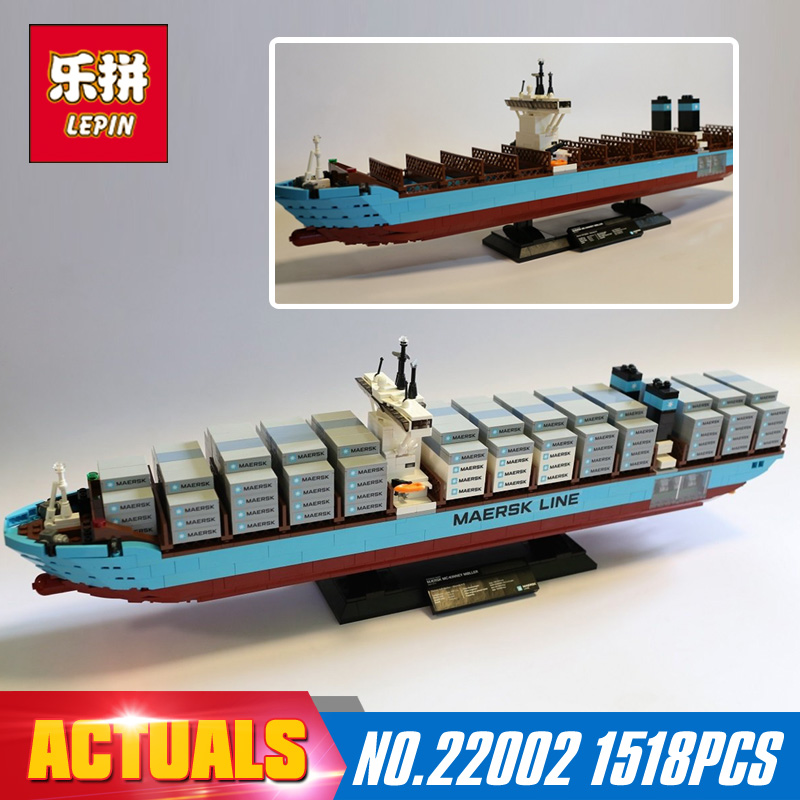 1518Pcs 22002 New Lepin Technic Series The Maersk Cargo Container Ship Set 10241 Building Blocks Bricks Educational Toys lepin 22002 1518pcs the maersk cargo container ship set educational building blocks bricks model toys compatible legoed 10241