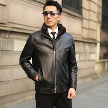 Ptslan Men 2017 Genuine Leather Jacket Mink Fur Lining Lapel Male Real Sheepskin Coat Good Quality Warm Thick