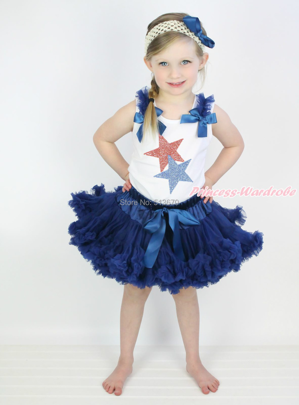 ФОТО 4th July Patriotic Rhinestone Star White Pettitop Top Shirt Navy Blue Bow Pettiskirt Dress Set 1-8Y MAPSA0529