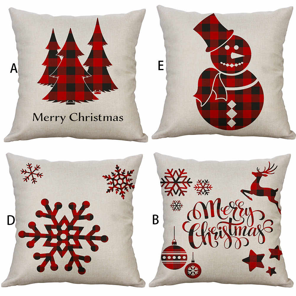 New Merry Christmas ornaments for home New year 4 styles soft Pillow Case reindeer snowflake santa claus decorative pillow cover