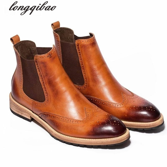 Anglesey brand fashion leather men boots British retro carved Bullock foot climbing boots to help men's shoes