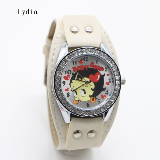 Free Shipping! 1pcs New Pretty Fashion White pink Sexy Betty Boop Womens Ladies Girls Quartz Wristwatch Watches
