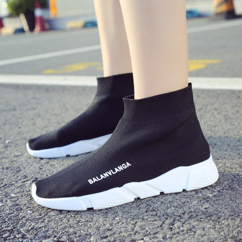 New women fashion ankle boots shoes black flat with Woven light breathable knitting female girls shoes slip on round toe casual