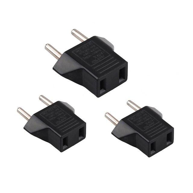 3pcs Black 6a Us To Eu Adapter Plug Usa Euro Europe Wall Charge Outlet 2 Flat Pin Round Socket Ru Es