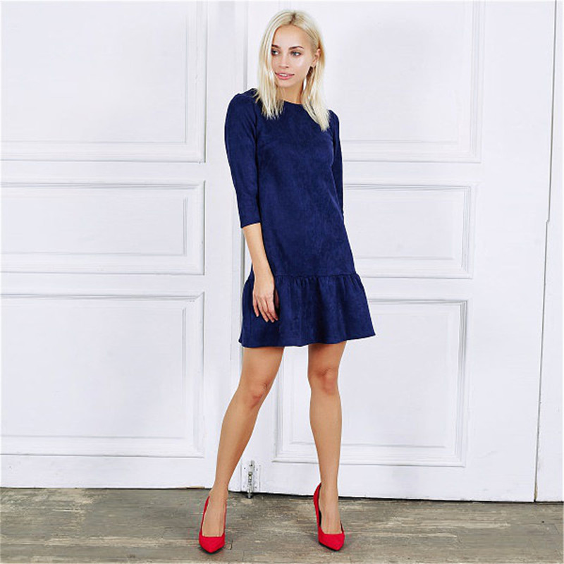 Fall 2018 Women Suede Casual Three Quarter Sleeve T Shirt Mini Dress Autumn Winter Fashion Vintage Ruffle Christmas Dresses 15