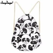 Noisydesigns Sweet Panda Patern 3D Cartoon New Drawstring Bag Large Capacity Backpack Women Girls Casual Travel