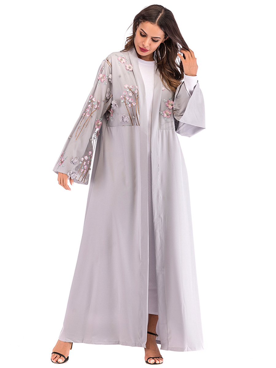 NEW Abaya Dubai Kaftan Arab Women Long Floral Muslim Kimono Cardigan Hijab Dress Turkish Elbise Mubarak Islamic Prayer Clothing