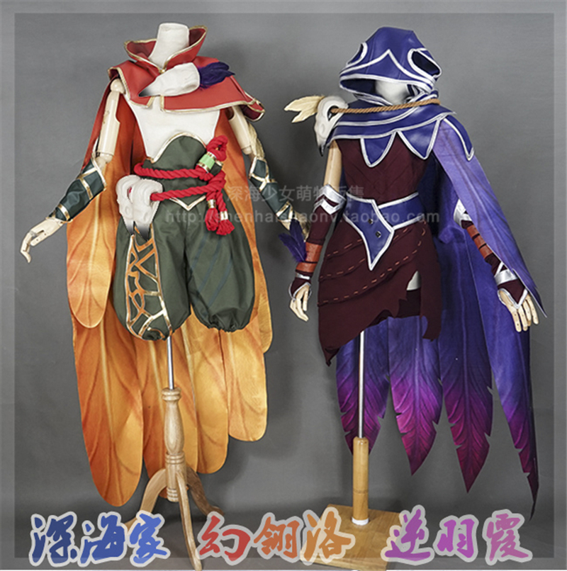 2017 Hot Game LOL The Rebel Xayah The Charmer Rakan Cosplay Costume Uniform Suits Christmas And Halloween Costumes