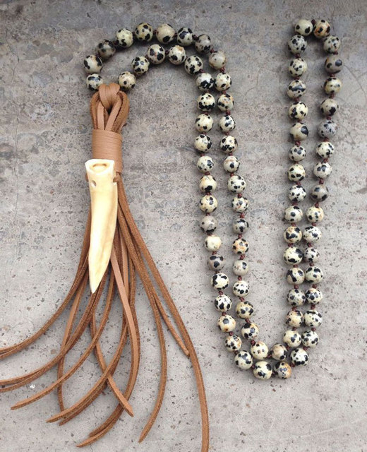Ya2079 real wolf tooth pendant leather tassel stone beads handmade ya2079 real wolf tooth pendant leather tassel stone beads handmade necklace 30 32inch long mozeypictures Image collections