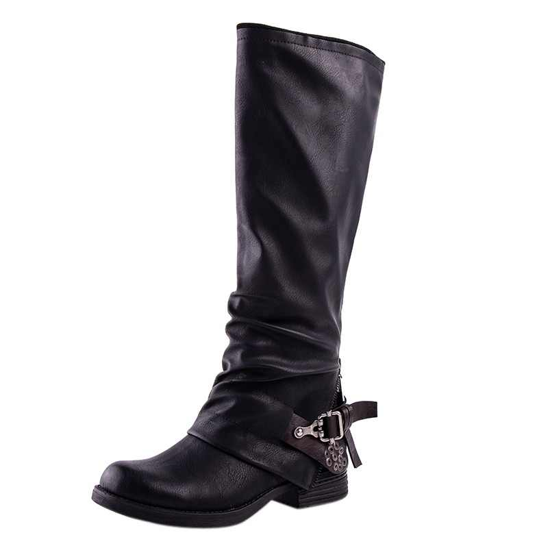 3cebbbdf18c LALA IKAI Boots Women Knee High PU Black Winter Shoes Med Heel Buckle Zipper  Weatern PU