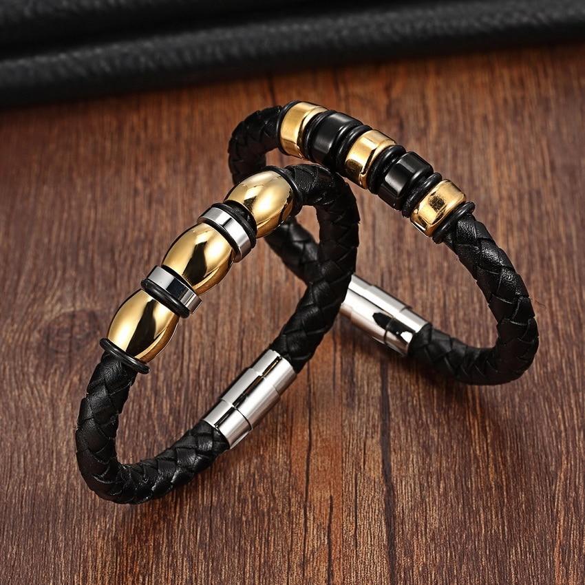 Mens Stainless Steel Genuine Leather Bracelet Bangle Braided Punk Rock Gold Black