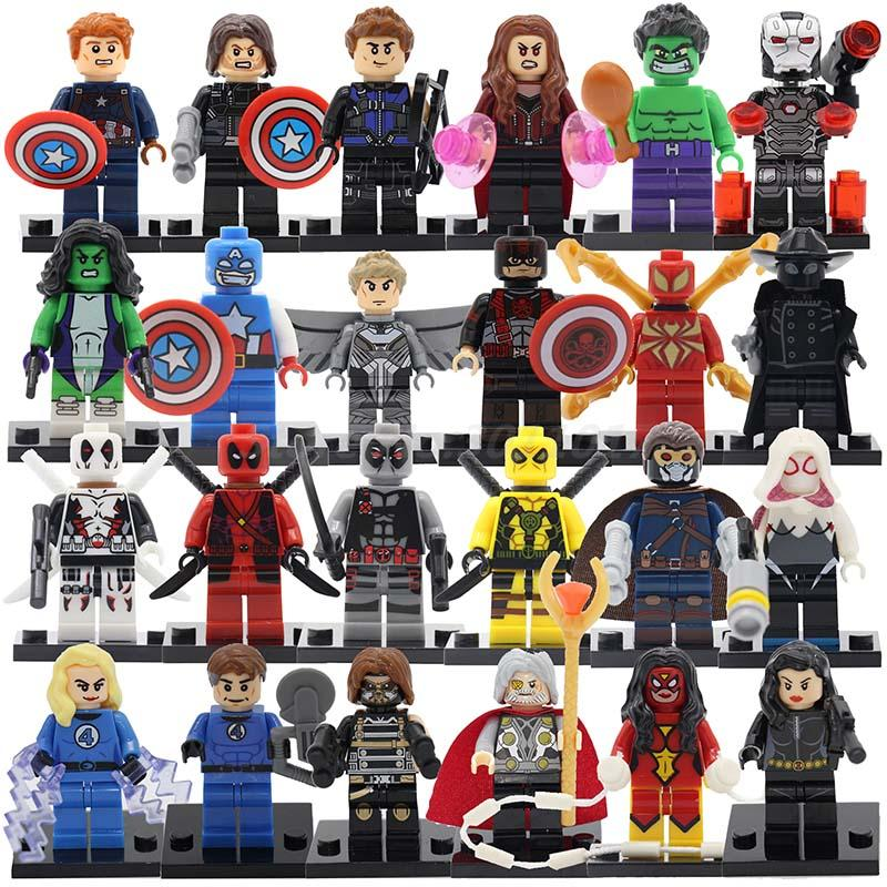 POGO Batman Spiderman Captain America Deadpool DC Marvel Super Heroes 24pcs lot Building Blocks Toys For