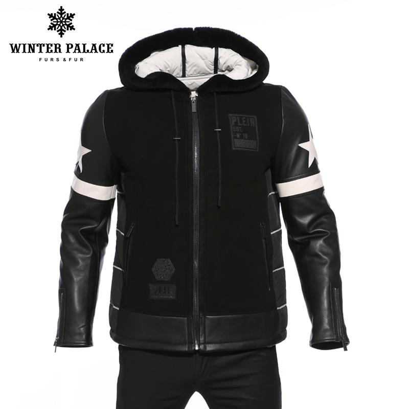 Inverno di Tendenza del ragazzo cappotto di pelliccia degli uomini di Modo di nuovo stile giovane anatra giù gli uomini giacca da uomo di fascia Alta abbigliamento cappotto di pelle di pecora Super star
