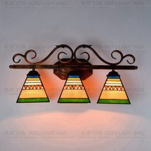 Southeast Asian style Tiffany Pyramid art glass wall lamp bar corridor decorative wall lamp(China)