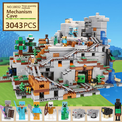 LEPIN 18032 Model Building Kit Blocks Bricks mechanism 3043pcs The Mountain Cave My worlds Compatible with 21137 birthday gifts
