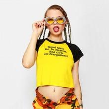 NiceMix 2019 womens good bad girls letter printed short crop tops camisetas mujer summer for women streetwear haut femme