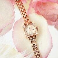 Japanese Style Square Lady Crystal Zircon Stone Dial Watch Bracelet Fine Watch Band Watch