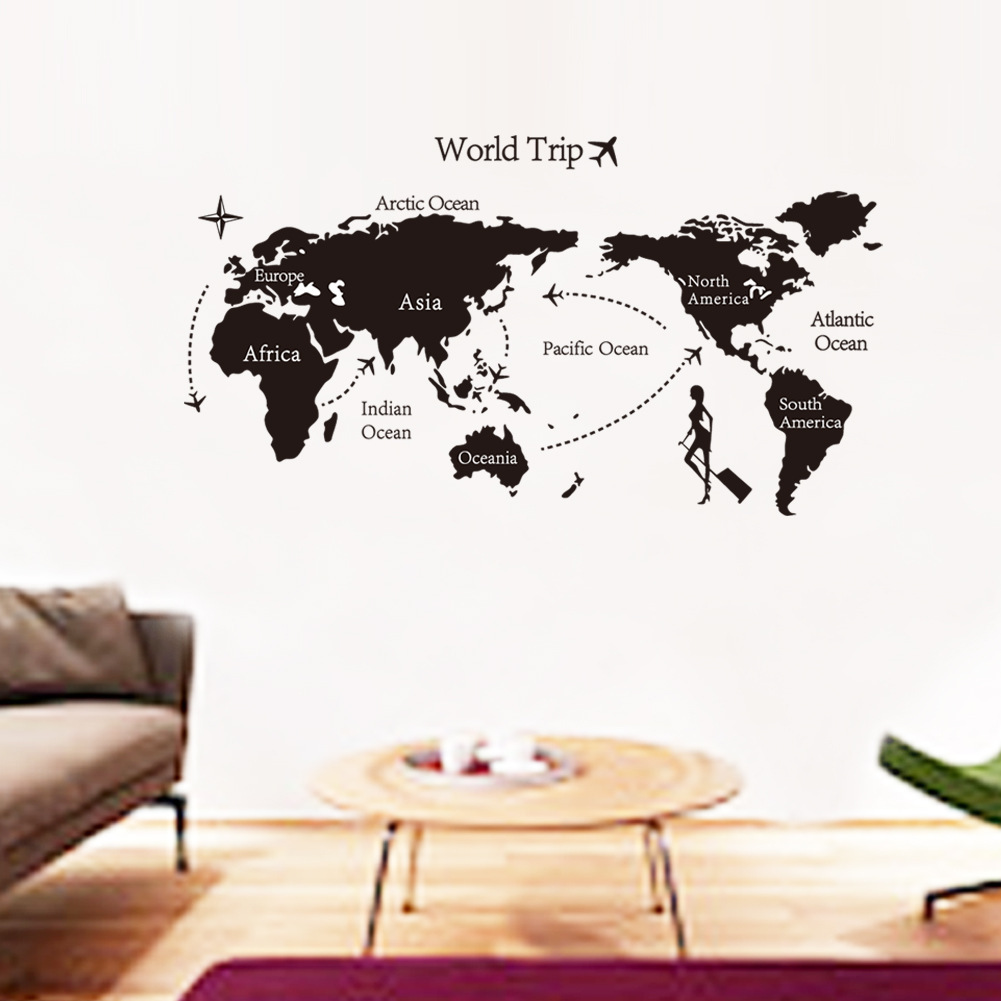 online get cheap wallpaper world trip aliexpresscom  alibaba group - world trip map wall stickers self adhesive removable wallpaper paintingposter bedroom living room home decor free ship