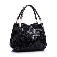 SNNY Fashion Women Crocodile Pattern Leather Shoulder Bag Female Tote Handbag, Black