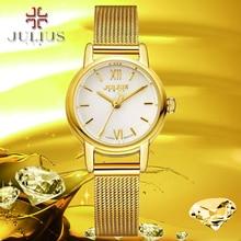 2016 June newest Fashion leisure Top Luxury brand JULIUS Watches women Stainless Steel Mesh strap female