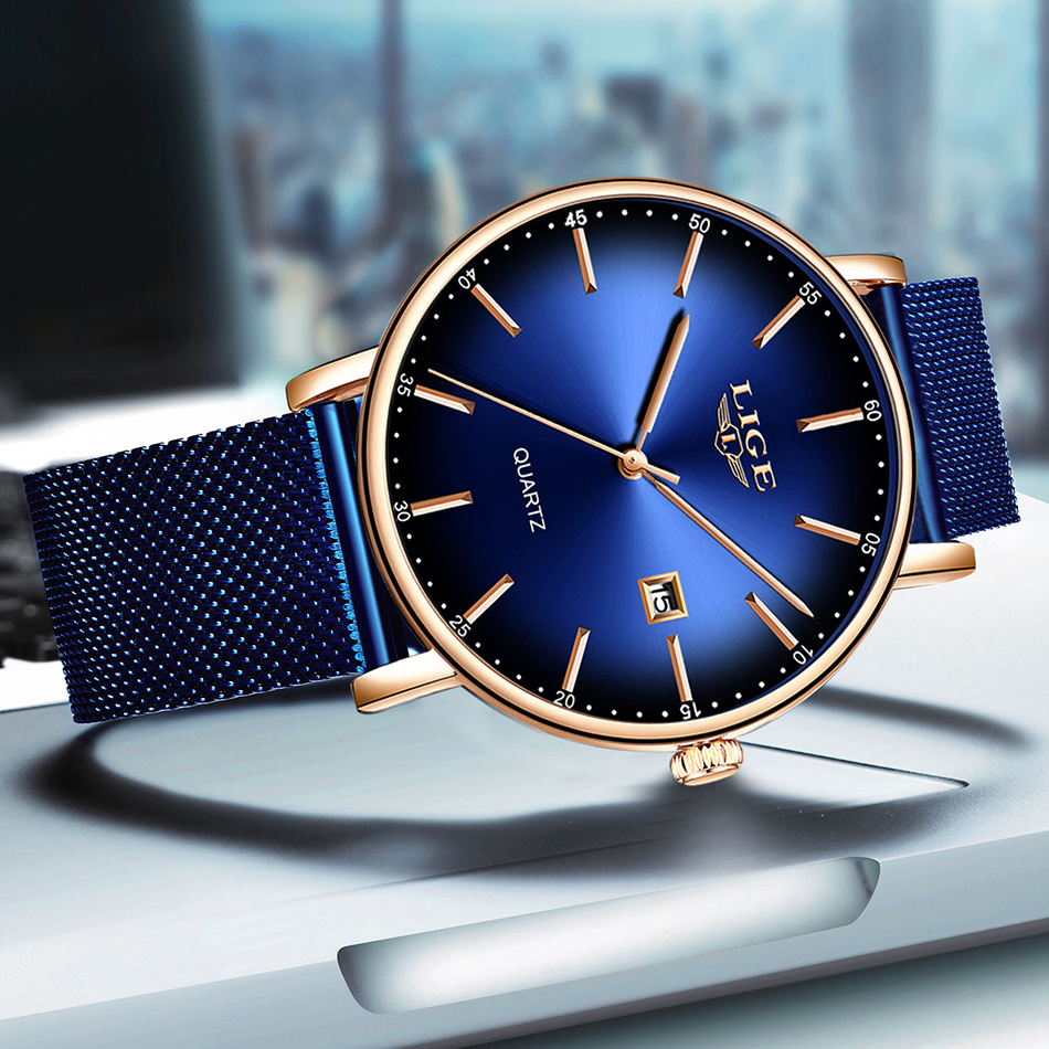LIGE Fashion Mens Watches Top Brand Luxury Blue Waterproof Watches Ultra Thin Date Simple Casual Quartz LIGE Fashion Mens Watches Top Brand Luxury Blue Waterproof Watches Ultra Thin Date Simple Casual Quartz Watch Men Sports Clock