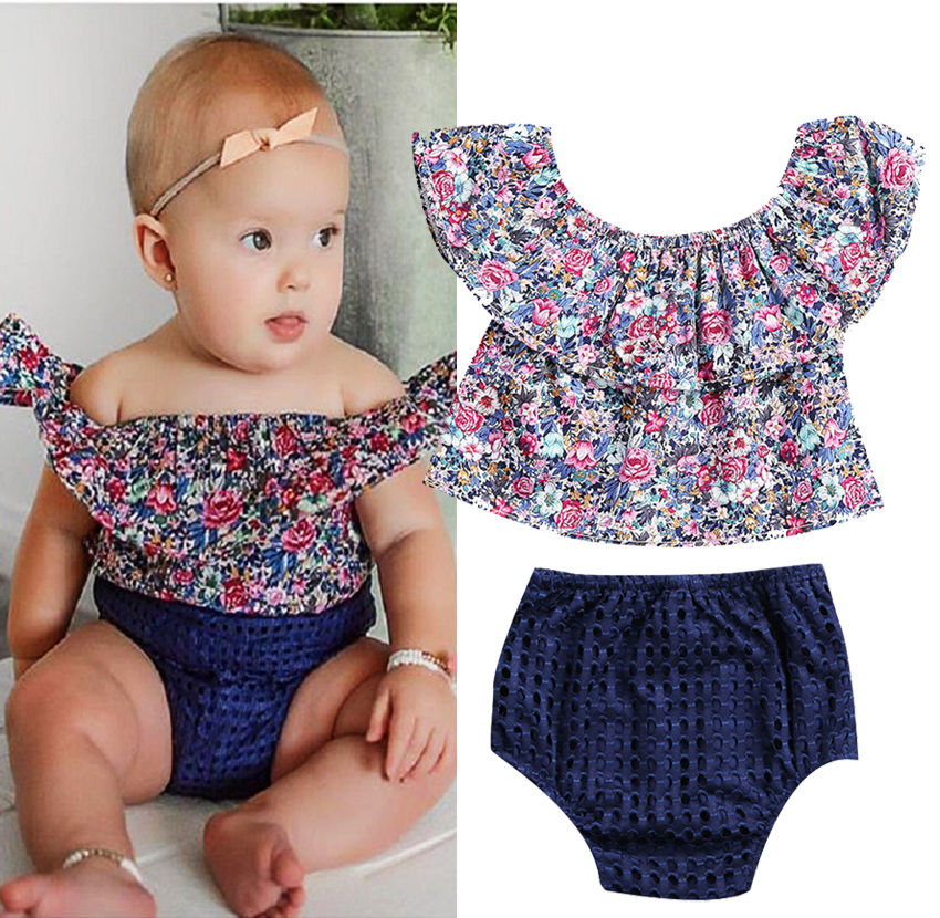 Newborn Toddler Baby Girls Clothes Sets Off Shoulder Floral Tops Short Sleeve Shorts Outfits Set Clothing Summer baby girl clothing sets floral short sleeve t shirt suspender shorts toddler girls summer outfits removeable overalls 3pcs set
