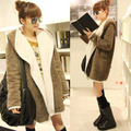 Женщин теплая плюшевые искусственного меха пальто кардиган верхняя одежда капюшоном карманы верхняя одежда пальто