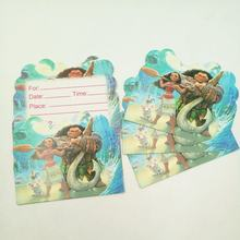10pcs/lot Cartoon Moana Party Supplies Invitation Card Children's Birthday Party Decorations Kids Festival Supplies(China)